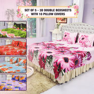 Set of 5 - 3D Double Bedsheets with 10 Pillow Covers (5BS24)