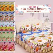 Set Of 5 - Floral 3D Double Bedsheets With 10 Pillow Covers (5BS27)
