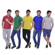 Set of 5 Collar T-shirts for Men - Solid Colours (5PT5)