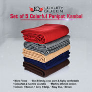 Set of 5 Colorful Panipat Kambal