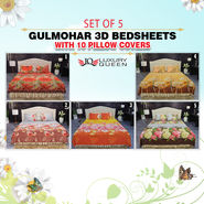 Set of 5 Gulmohar 3D Bedsheets with 10 Pillow Covers (5BS35)