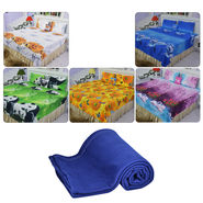 Set of 5 Nature 3D Print Bed Sheets with 10 Pillow Covers + 1 Panipat Fleece Blanket Free
