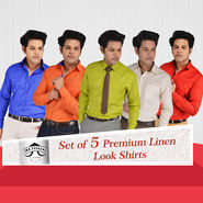 Mr. Tusker Set of 5 Premium Linen Look Shirts (P5L1)