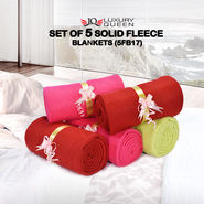 Set of 5 Solid Fleece Blankets (5FB17)