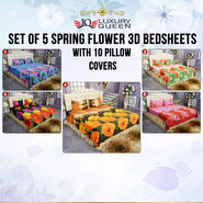Set of 5 Spring Flower 3D Bedsheets with 10 Pillow Covers (5BS38)