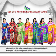 Set of 7 Art Silk Sarees (7A1)