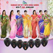 Vaibhavi Set of 7 Kota Doria Sarees (7K1) with 7 Free Jewellery