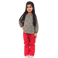 ShopperTree Trouser With Top for Girl - Red & Leopard