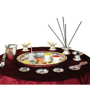 Silver Plated 14 Pcs Pooja Set