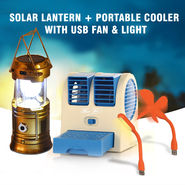 Solar Lantern + Portable Cooler with USB Fan & Light