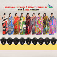 Soumya Collection of 9 Georgette Sarees by Pakhi (9G2) with 9 Free Jewellery