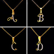 A to Z Alphabet Pendant + Gold Plated Silver Chain- Sparkles