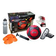 Speed Up Trainer 6 Pcs Complete Set - Red Football Size 5, Ball Pump, Shinguard, Gloves, Sipper, Marker Discs