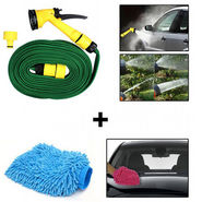Combo of Car Cleaning Water Spray Hose Gun + Microfiber Glove