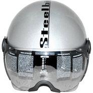 Steelbird SB-27 Style Clear Visor Motorbike Helmet - L  (Silver)