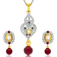 Sukkhi Ethnic Gold & Rhodium Plated Pendant Set - White & Golden - 4073PSKDV1250