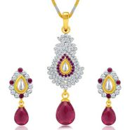 Sukkhi Divine Gold & Rhodium Plated Pendant Set - White & Golden - 4077PSKDV1250