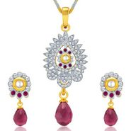 Sukkhi Dazzling Gold & Rhodium Plated Pendant Set - White & Golden - 4081PSKDV1250