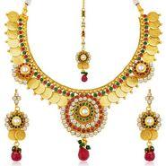Sukkhi Estonish Gold Plated Necklace Set - Golden - 2150NGLDPL4550