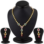 Sukkhi Gold Plated Single String Ruby Emerald Studded AD Necklace Set