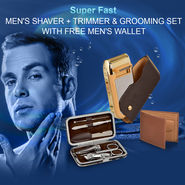 Super Fast Men's Shaver Trimmer & Grooming Set with Free Men's Wallet