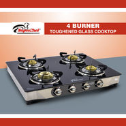 SuperChef Glass Top 4 Burner Gas Stove