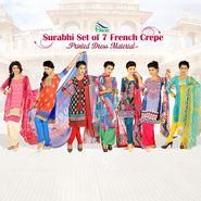 Surabhi Set of 7 French Crepe Printed Dress Material by Pakhi (7FCDM5)