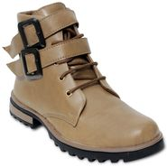 Faux Leather Cream Boots -T22