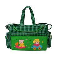 Tumble Check Print Baby Diaper Bag - Green
