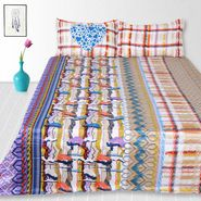 Storyathome Cotton Multi King Size 1 Double Bedsheet With 2 Pillow Cover-TV1218