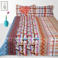Storyathome Cotton Multi King Size 1 Double Bedsheet With 2 Pillow Cover-TV1219