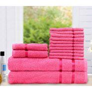 Story@Home 14 Pcs Premium Towel Combo 100% Cotton-Pink-TW1202_2X-1M-1S