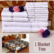 Combo of 100% Cotton Towel Set & Double Bed Fleece Blanket-CA1209