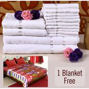 Combo of 100% Cotton Towel Set & Double Bed Fleece Blanket-CA1212