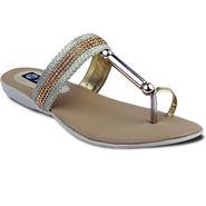 Ten Synthetic Sandals For Women_tenbl182 - Gold