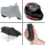 Rainy Day Combo - Bike Body cover+Umbrella+Helmet
