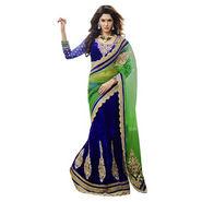 Triveni Sarees Embroidery Lehenga Saree - Blue & Green