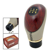 Branded Leather Plastic Shift Lever Wooden Gear Knob - Beige