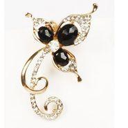 Urthn Austrian Diamond Single Ear Cuff - Black _ 1302502