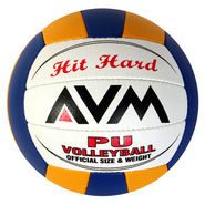 AVM Multicolor Hit Hard PU Volleyball - Standard, Dia 23 cm