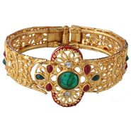 Variation Red & Green Ethnic Gold Plated Openable Bangle_Vd11308