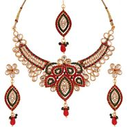 Variation Maroon & Green Bridal Jewellery Set With Mangtika_Vd13301