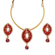 Variation Pink Enamel Rajasthani Necklace Setn_Vd14148