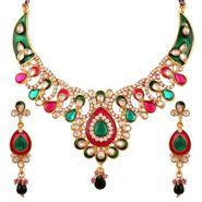 Variation Pink & Green Enamel Kundan Necklace Set_Vd14169