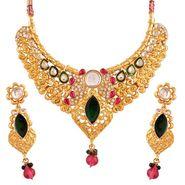 Variation Pink & Green Gold Plated Bridal Necklace_Vd14172