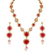 Variation Pink Pearl Long Party Wear Necklace Set_Vd14202
