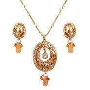 Variation Orange Shaded Meenakri Pendant Set_Vd15309