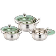 Set of 3pcs Klassic Vimal Slice Silver Touch Dish with Glass Lid - Silver