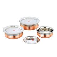Set of 3pcs Klassic Vimal Baby Copper Bottom Dish - Silver & Copper