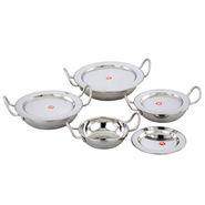 Klassic Vimal 8 Pcs Baby Kadai Induction Cookware Set - Silver